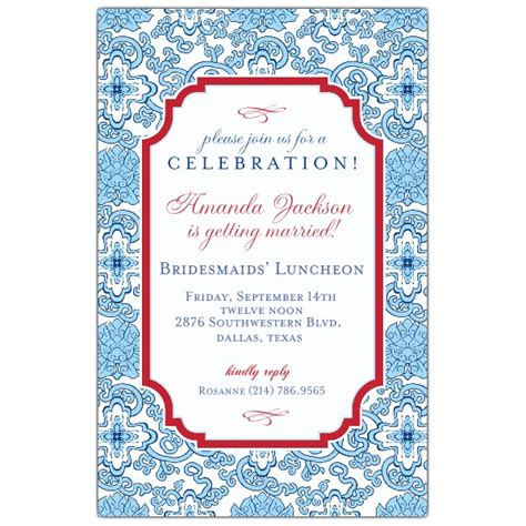 Blue China Bridesmaids Luncheon Invitations Paperstyle Bridesmaid Luncheon Invitations Template