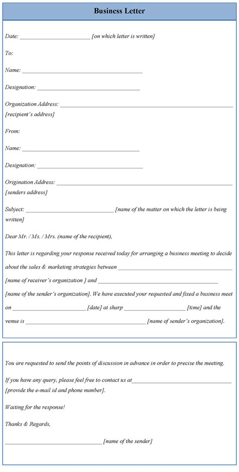 letter template for business sle of business letter