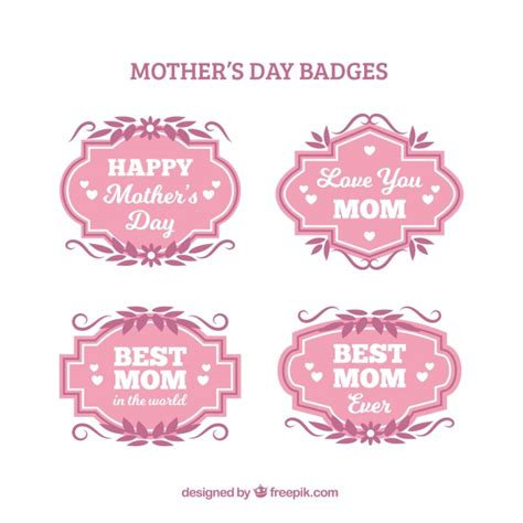 S Day Badges S Day Badges With Pink Leaves Vector Free