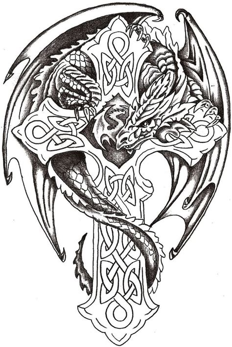 celtic cross with dragon tattoo black ink celtic cross with design