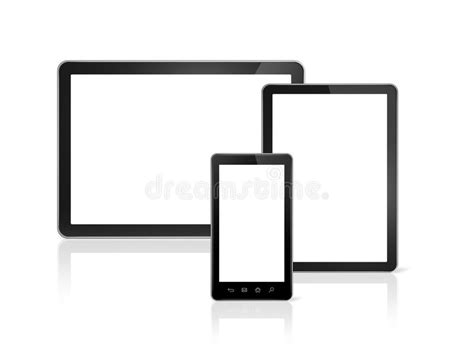 mobile tablet pc mobile phone and digital tablet pc stock illustration