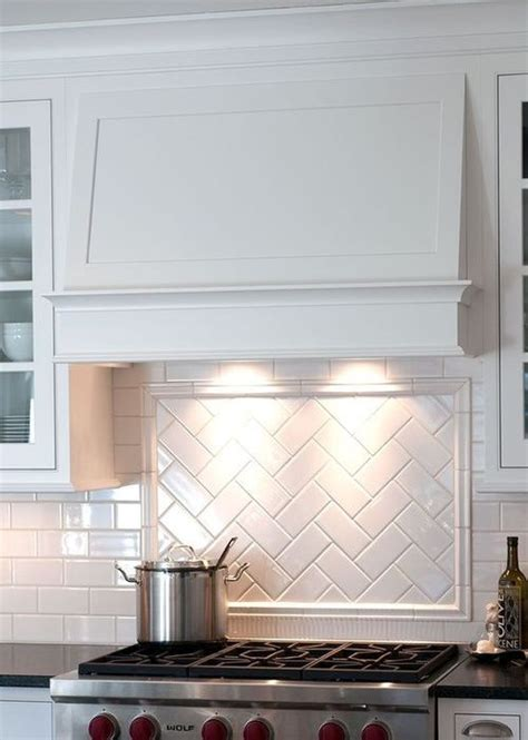herringbone subway tile backsplash interiors