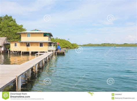 house over water stilt house over water of the caribbean sea stock photo