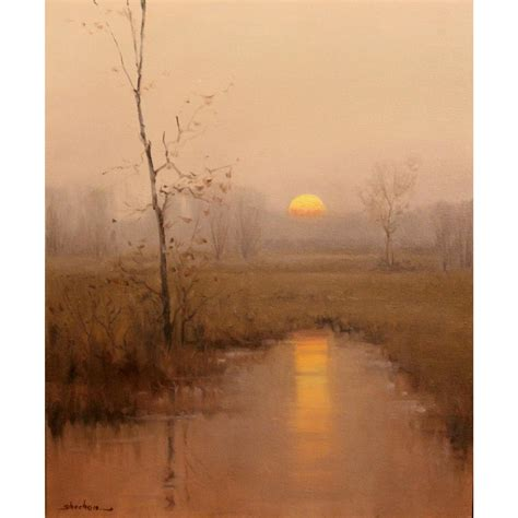 Dennis Sheehan Tonalist Landscape Oil Painting   Sunrise