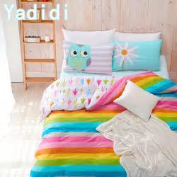 Size Of A Double Duvet Cover Yadidi 100 Cotton Rainbow Owl Bedding Set Cartoon Modern