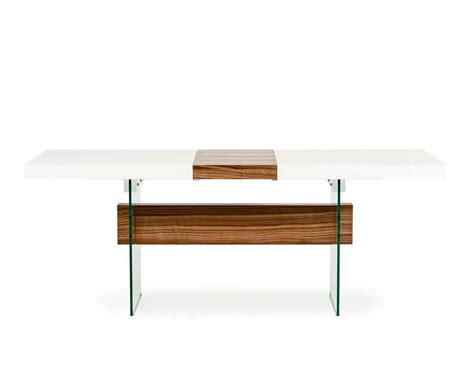 white dining room table extendable white and walnut extendable dining table vg001 modern dining