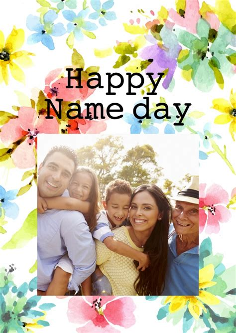 Name Day Card Template by Happy Name Day With Flowers Congratulations Send Real