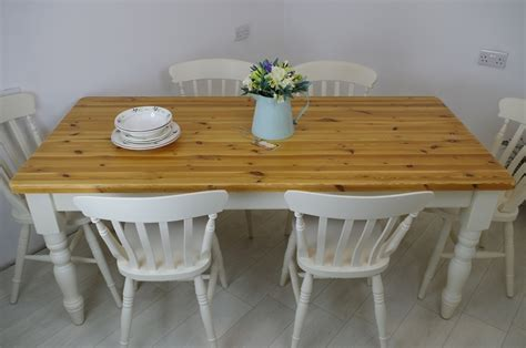 Six Foot Long Pine Farmhouse Table With 6 Beech Slat Back Pine Farmhouse Table