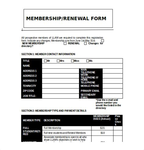free club templates 15 membership application templates free sle