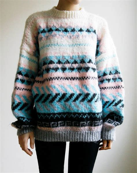 Pattern Sweaters Tumblr | girl cute fashion sweater white black blue pink clothes