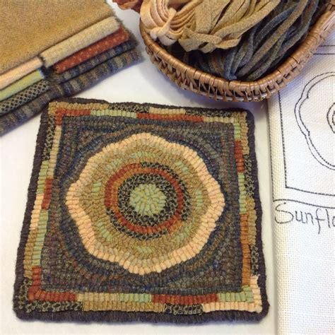 Wool Rug Kits by Rug Hooking Kit Sunflower Mat 8 X 8 K105 Primitive Rug