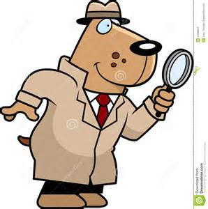 Cartoon illustration of a dog detective with a magnifying glass