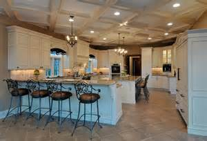 elegant long island kitchen design for a large scale room with grand ceiling details kitchen