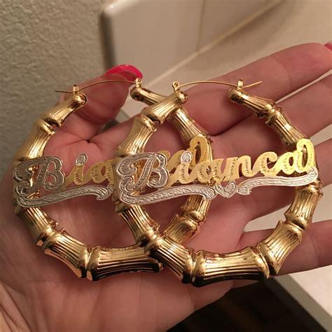 custom gold plated bamboo earrings 183 prettygirrl