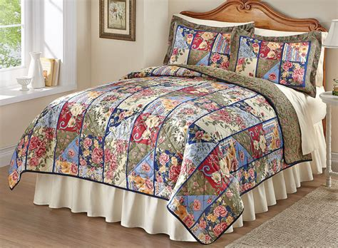 Size Patchwork Quilt - beautiful patchwork summer floral king size 3 pc quilt bed
