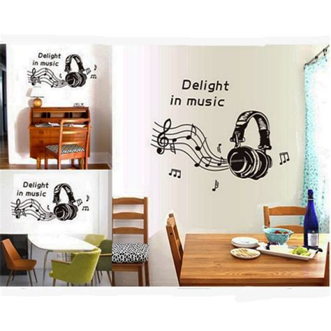 Note Home Decor by Headphone Musical Note Wall Sticker Creative Decals Home
