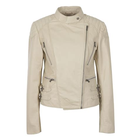 biker jacket lisa ladies leather biker jacket cream hidepark