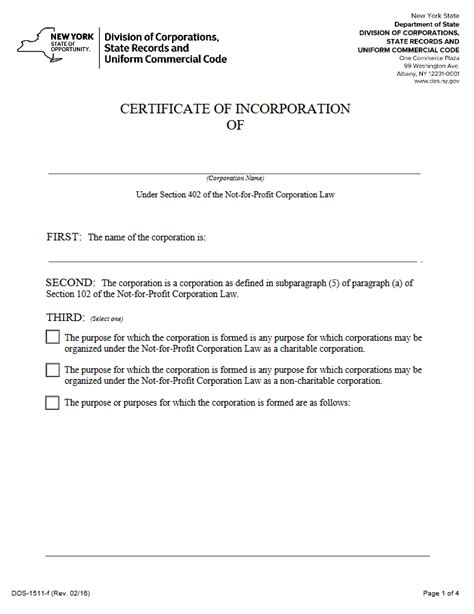 section 201 of the not for profit corporation law free new york certificate of incorporation not for profit