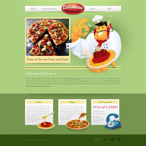 Pizza And Pasta Web Template With Original Illustrations Free Website Templates Pizza Website Template