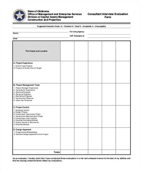 Interview Evaluation Form Templates Management Evaluation Form Template