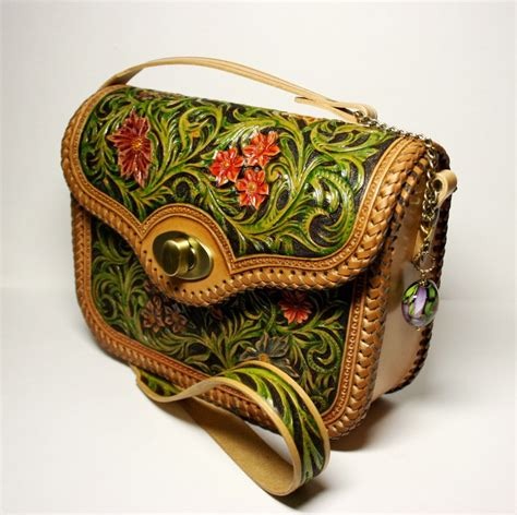 Handmade Purse Designs - tooled leather bag handcarved handbag tooled purse