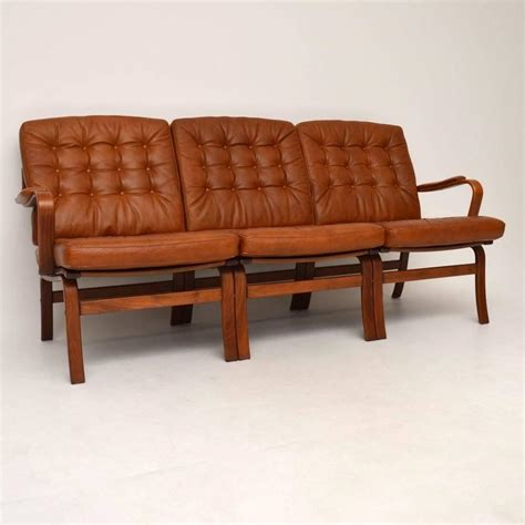 retro danish sofa danish retro leather bentwood sofa vintage 1970s for sale