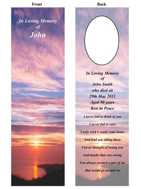 memorial bookmarks templates image gallery memorial bookmarks