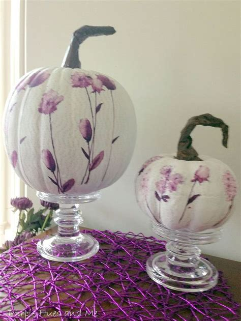 Decoupage On Plastic - decoupage paper napkins on pumpkins using plastic wrap