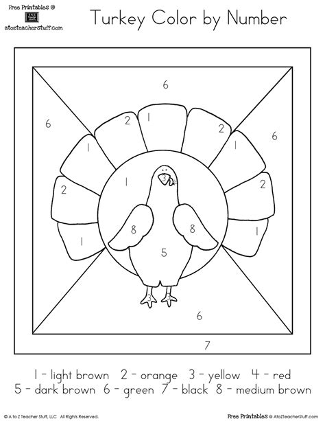 thanksgiving coloring pages printable color by number