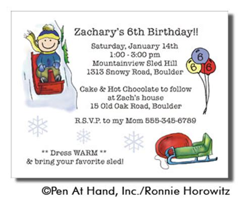 Sledding Theme Personalized Party Invitations By The