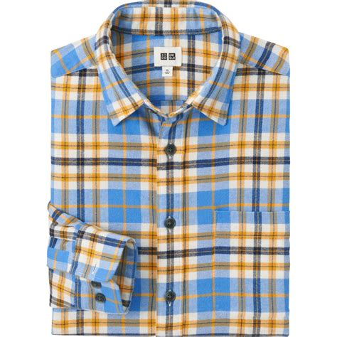 Flannel Uniqlo 11 uniqlo flannel sleeve shirt in blue for lyst