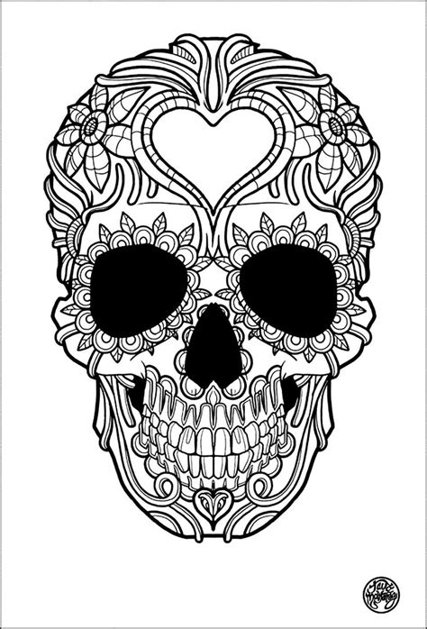 free coloring page 171 coloring adult tatouage simple skull