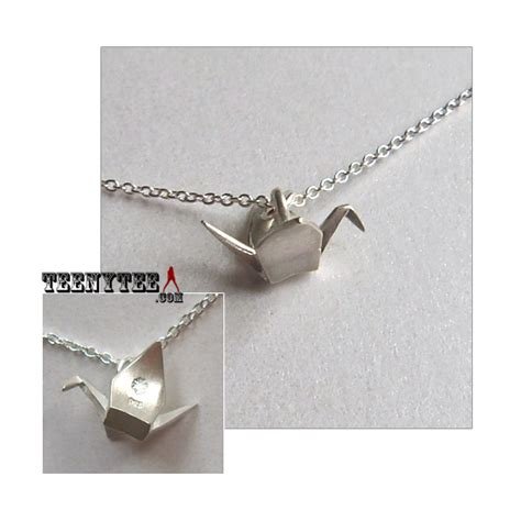 Origami Crane Charm - origami crane sterling silver charm necklace boxed