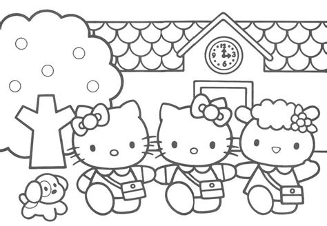 coloring pictures of hello kitty and her friends hello kitty and friends 3 coloring page