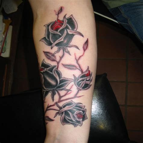 rose and thorn vine tattoos black designs ideas photos images