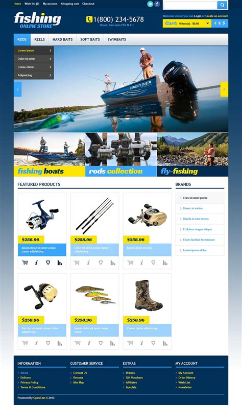 online fishing store opencart template web design