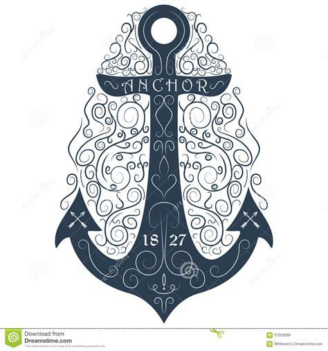 Classic Vintage Style Anchor vintage logo flourish anchor vector