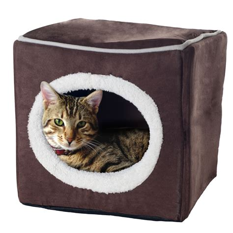 Enclosed Cat Bed by Petmaker Cozy Cave Enclosed Cube Pet Bed Coffee