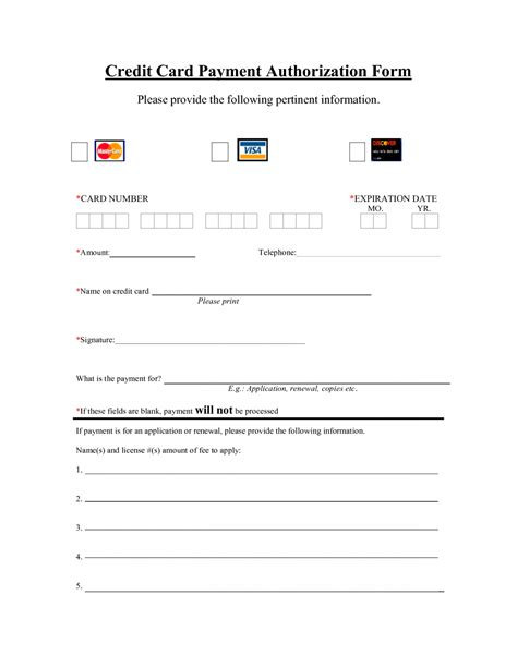Credit Card Authorization Template by New Credit Card Authorization Form Template Poserforum Net