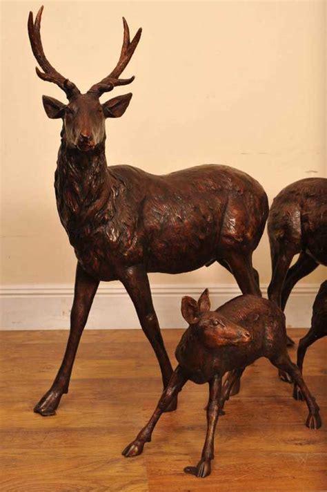 bronze 3 reindeer statue bronze deer stag family doe garden statue fawn
