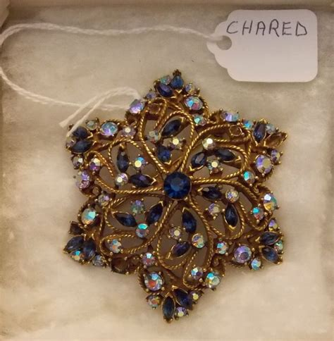celebrity vintage costume jewelry vintage chared brooch with aurora borealis and rhi vintage