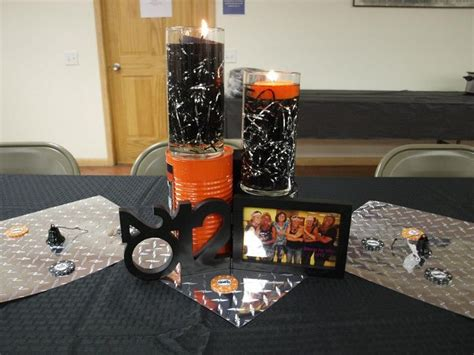 the table centerpieces harley davidson wedding