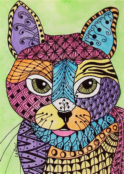 pattern cat art lesson aceo le print cat kitten doodle pet portrait feline animal
