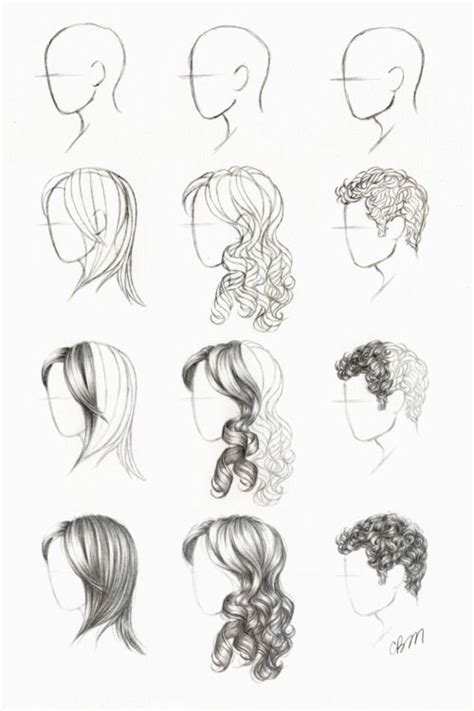 hairstyles drawing tutorials drawing tutorial tutorials curly straight short hair