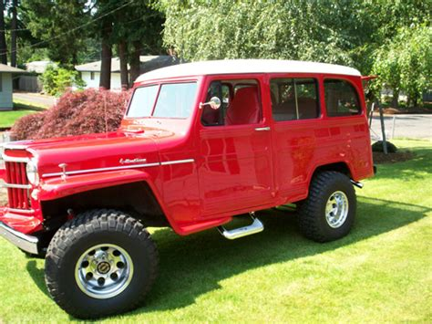 jeep station wagon lifted 1954 willys station wagon red white top lifted updated