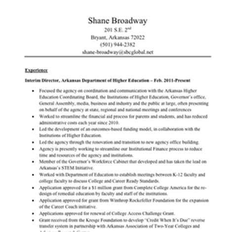 higher education resume sles shane broadway resume