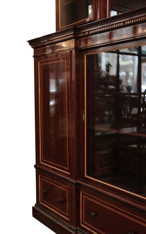 1870s English Inlaid Wall Cabinet with Sliding Glass Doors and Drawers For Sale at 1stdibs