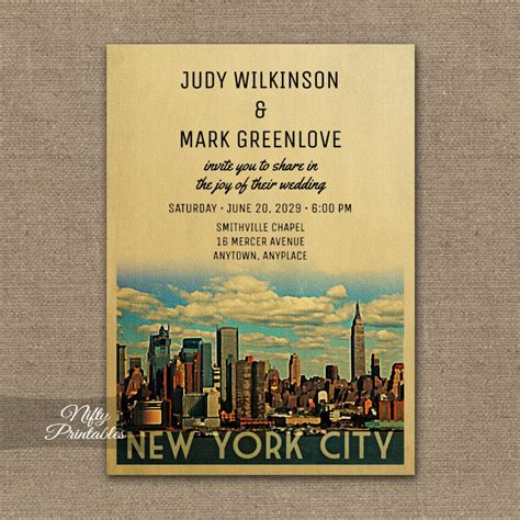 Wedding Invitations New York City by New York City Wedding Invitation Manhattan Nyc Printed