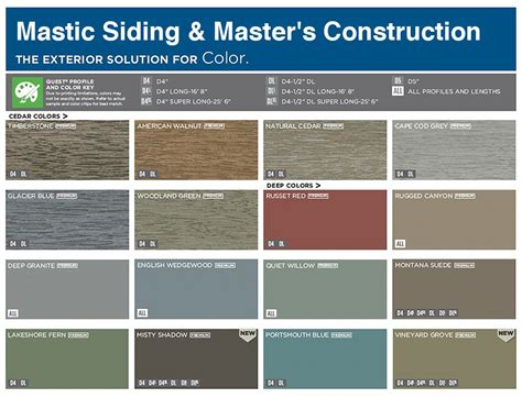 colors of siding vinyl siding color chart mastic color chart siding