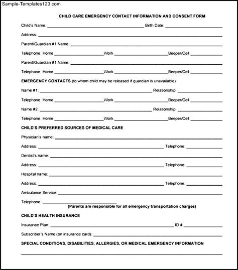 child information form template child care emergency contact information and consent form